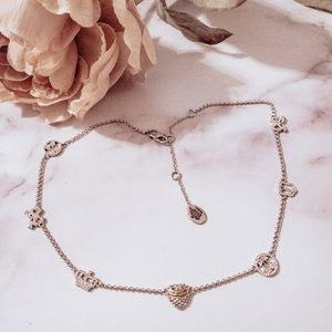 Juicy couture pave heart crown bow necklace